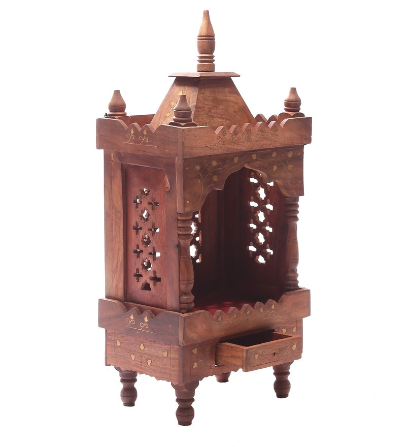 Solid Wood Hand Made Pooja Mandir in Brown Finish by Dream Arts