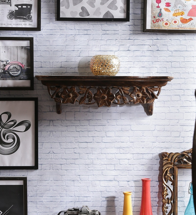 Gomez Wood Corner Wall Shelf in Brown by Dream Arts