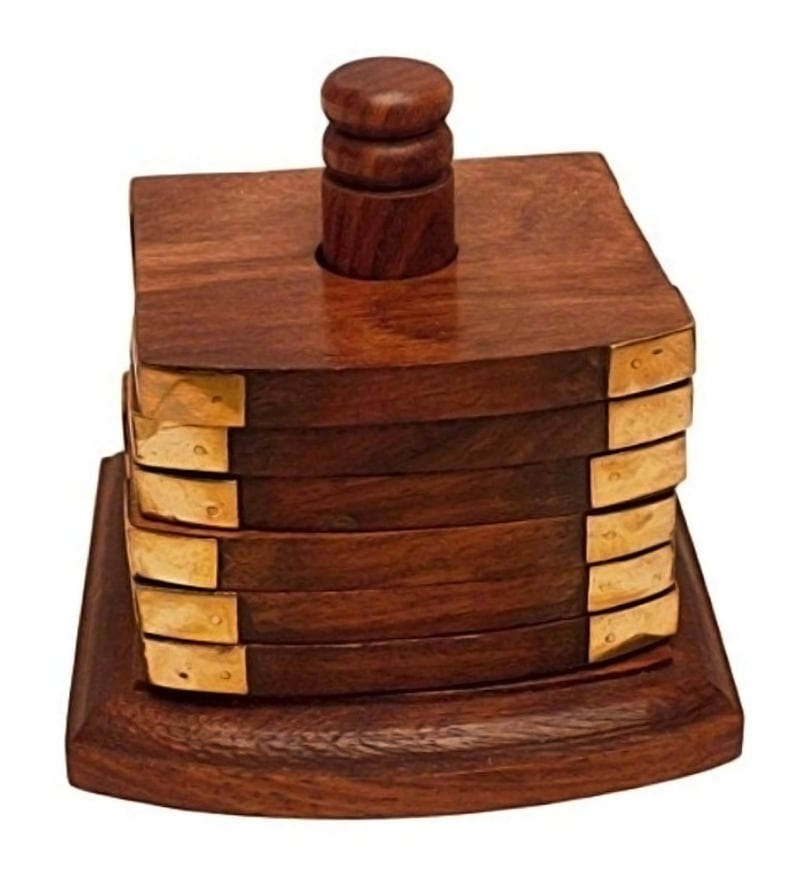 Shilpi Wooden Brown Coaster With Holder - Set Of 6 - 1691208
