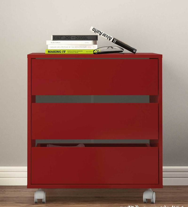 Shin Storage Unit with Three Drawers & Swivel Castors in Burgandy Colour by Mintwud