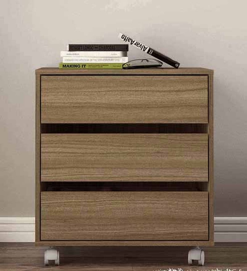 Shin Storage Unit with Three Drawers & Swivel Castors in Nut Brown Colour by Mintwud