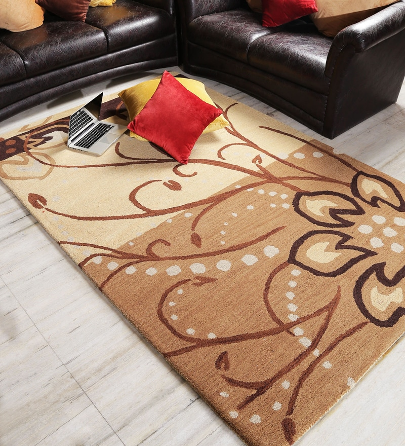 Brown & Beige Wool Area Rug by Shobha Woollens