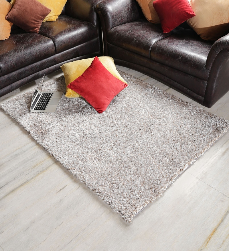 Silver & White Polyester Area Rug by Shobha Woollens
