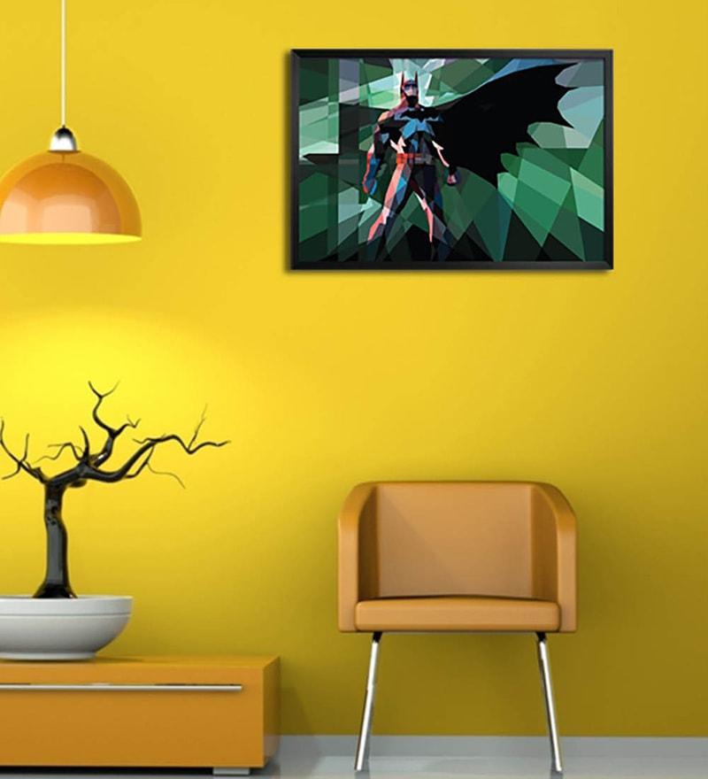 Wooden 19 x 1 x 13 Inch Batman Polygon Art Framed Poster by Shop Mantra