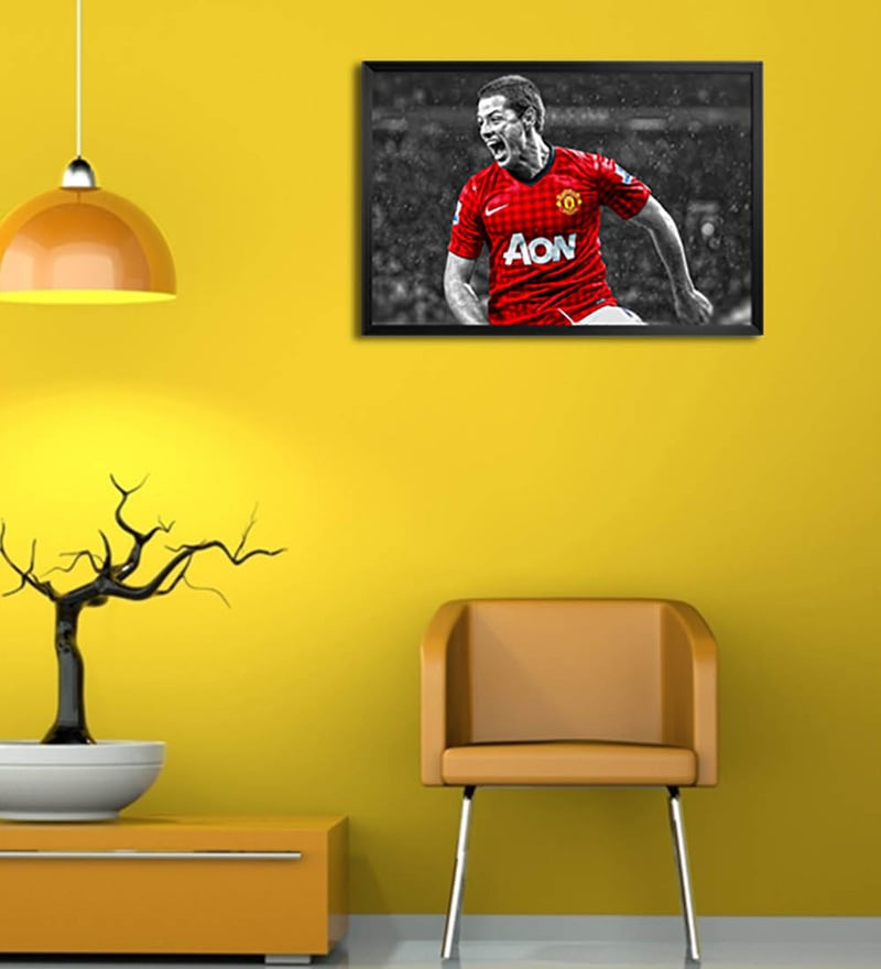 Wooden 19 x 1 x 13 Inch Chicharito Manchester United Framed Poster by Shop Mantra