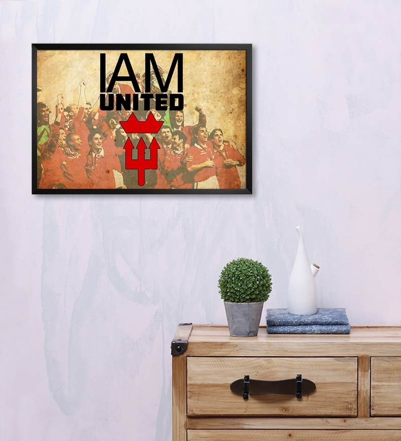 MDF 19 x 13 Inch Football I Am United Laminated Framed Poster by Shop Mantra
