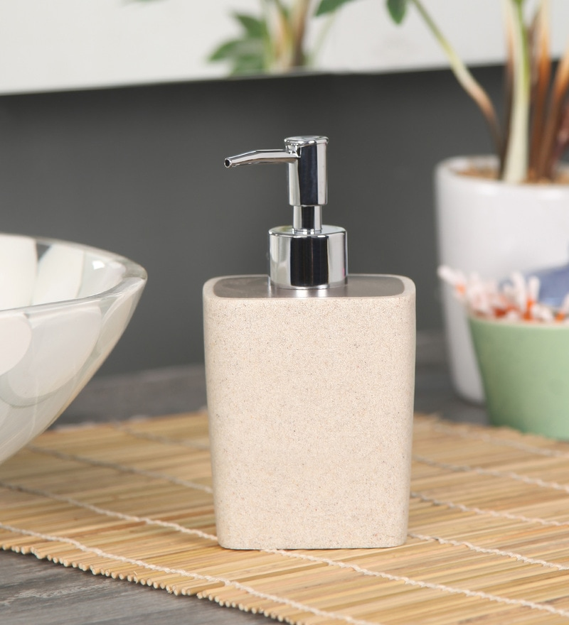 Shresmo Beige and Brown Polyresin Soap Dispenser