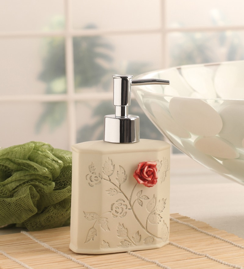 Shresmo White Polyresin Flora Soap Dispenser