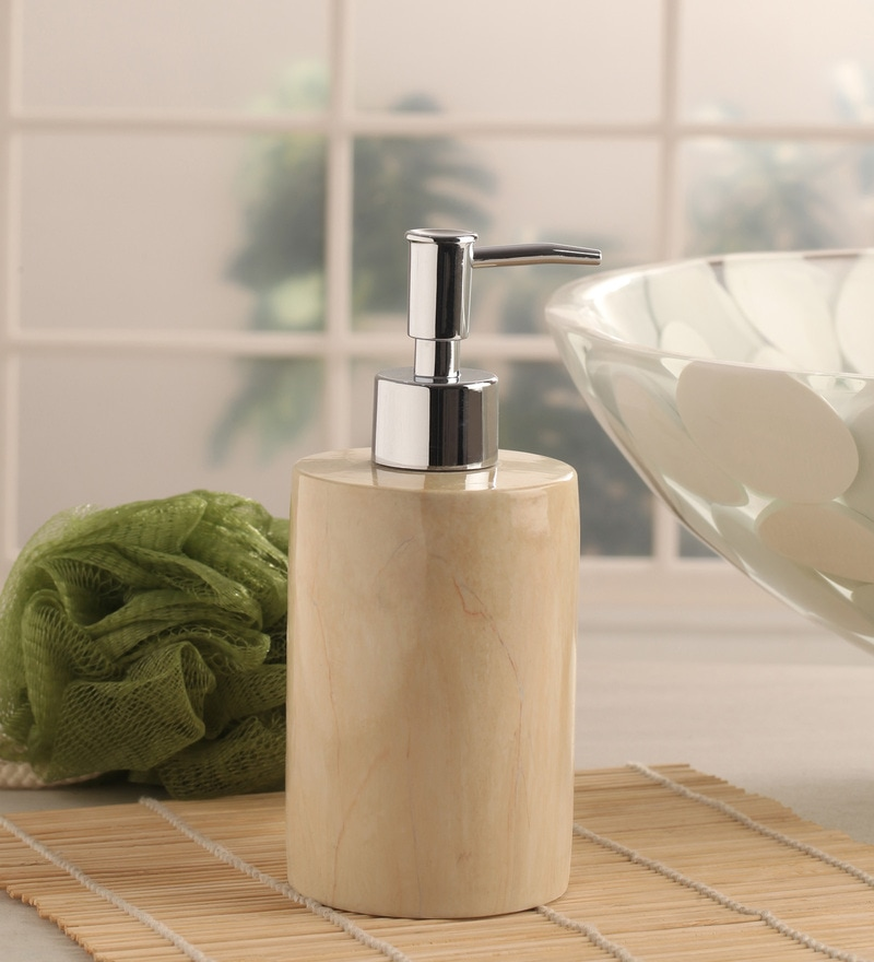 Shresmo White Polyresin Recto Soap Dispenser