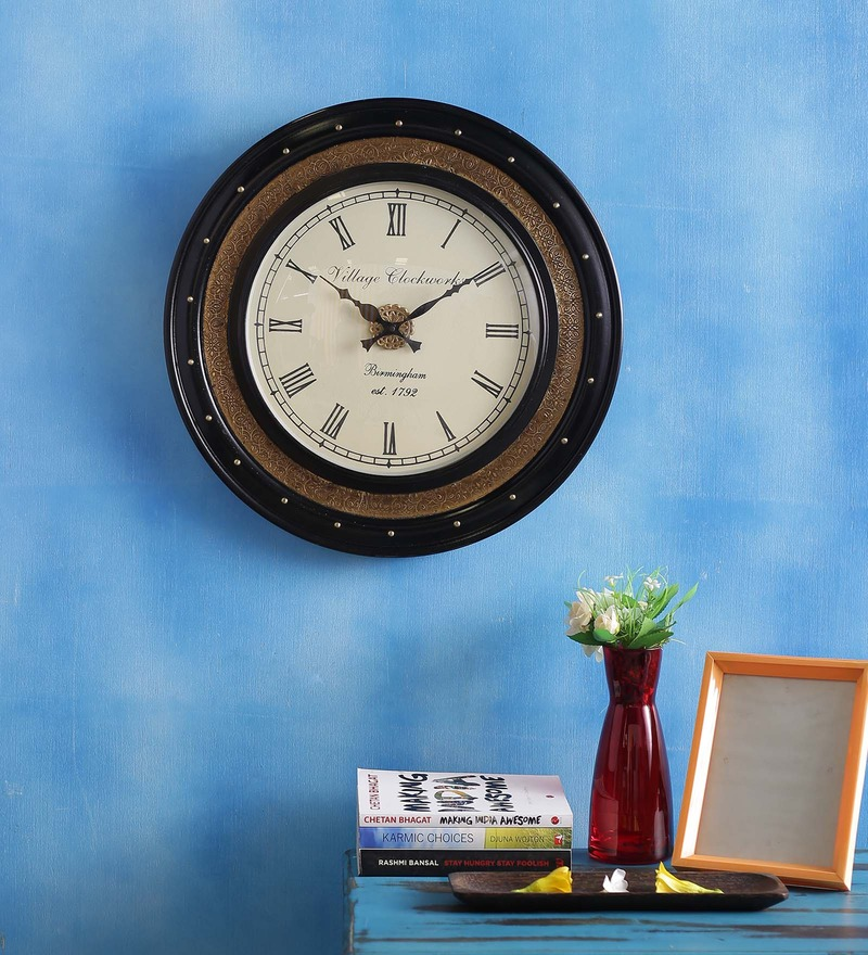Golden MDF 18 x 18 Inch Elementary Round Wall Clock by ShriNath