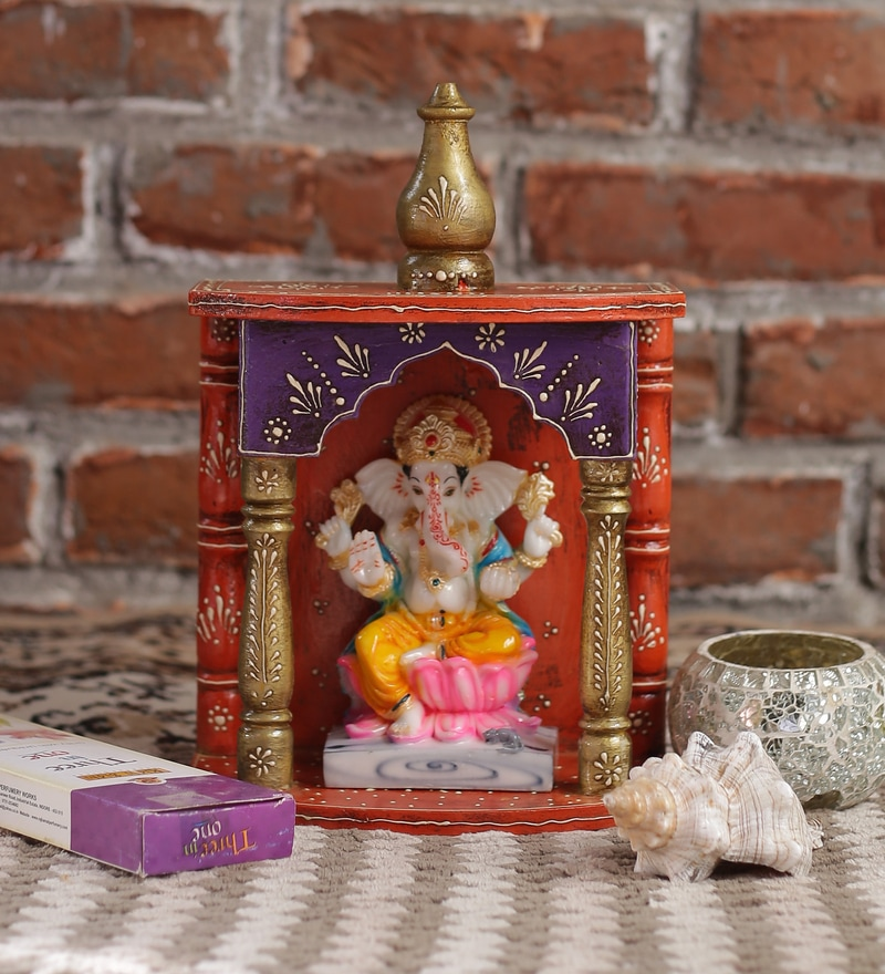Multicolour Mango Wood Classic Handicraft Wall Temple by ShriNath