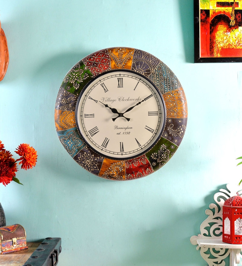 Multicolour MDF 18 Inch Round Brass Fitted Analog Wall Clock by ShriNath