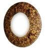 Brown Wood Round Log Slices Carved Mirror by Shah Kreations