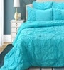 Shahenaz Home Shop Rosette Turquoise Cotton Solid King Quilt - Set of 2