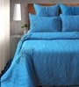 Shahenaz Home Shop Blue Cotton Solid King Quilt - Set of 2