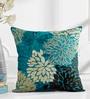 Shahenaz Home Shop Teal Poly Silk 16 x 16 Inch Petals Floral Cushion Cover