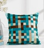 Shahenaz Home Shop Teal Poly Silk 16 x 16 Inch Square Matrix Stripes & Checks Cushion Cover