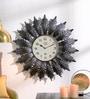 Shaz Living Black Mild Steel 24 x 25 x 3 Inch Leaf Wall Clock