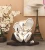 Shaze Silver Resin Crystal Studded Listener Ganesha