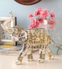 Shaze Silver Resin with Gold Ornaments Royal Tusker Showpiece