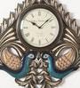 Shinexus Multicolour Metal Embossed 23.5 x 0.5 x 23.5 Inch Peacock Wall Clock