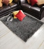 Black & Silver Polyester Area Rug by Shobha Woollens