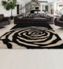 Black White Polyester Abstract Curved Line Area Rug by Shobha Woollens