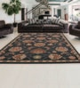 Shobha Woollens Black Wool Abstract Area Rug