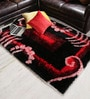Red & Black Polyester Area Rug by Shobha Woollens