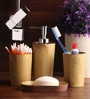 Shresmo Yellow and Brown Polyresin Bathroom Accessories - Set of 4