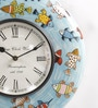 Blue MDF 11.5 Inch Round Fish Handmade Painted Handicraft Wall Clock by ShriNath
