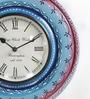 Shrinath Blue MDF 11.5 Inch Round Rajasthani Painted Wall Clock