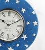 Shrinath Blue Metal & MDF 11.5 Inch Round Moon Handmade Painted Handicraft Wall Clock