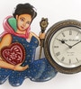 ShriNath Gold MDF 14 x 1.5 x 18 Inch Queen Painted Handicraft Wall Clock