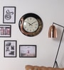 Gold MDF 18 Inch Round Mayur Carved Handmade Wall Clock by ShriNath