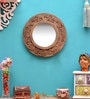 Gold MDF Round Mirror by ShriNath