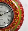 Multicolour MDF 11.5 Inch Round Dining Room Handmade Handicraft Wall Clock by ShriNath