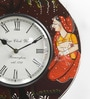 ShriNath Multicolour MDF 11.5 Inch Round King & Queen Handmade Painted Wall Clock