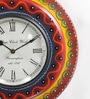 ShriNath Multicolour MDF 11.5 Inch Round Luxury Decorative Handmade Handicraft Wall Clock