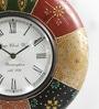 Multicolour MDF 12 Inch Round Antique Handicraft Wall Clock by ShriNath