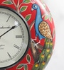 ShriNath Multicolour MDF 12 Inch Round Couple Mayur Painted Handicraft Wall Clock