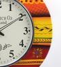 ShriNath Multicolour MDF 18 Inch Round Modern Look Handicraft Wall Clock