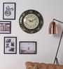 ShriNath Multicolour MDF 18 Inch Round Rajasthani Rangoli Glossy Handmade Handicraft Wall Clock