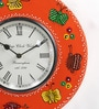 ShriNath Red MDF 11.5 Inch Round Butter Fly Handicraft Wall Clock