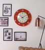 ShriNath Red Metal and MDF 18 Inch Round Flower Wall Clock