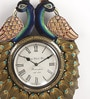 Silver MDF 12 x 1.5 x 18 Inch Royal Good Look Mayur Handmade Handicraft Wall Clock by ShriNath