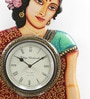Shrinath Silver MDF 14 x 1.5 x 18 Inch Good Look Handmade Painted Handicraft Wall Clock