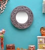 Silver MDF Round Decorative Carving Mirror by ShriNath