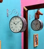 Silver Metal 10 Inch Round Station Hanging Clock by ShriNath