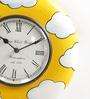 White and Yellow MDF 11.5 Inch Round Sun Handmade Handicraft Wall Clock by ShriNath
